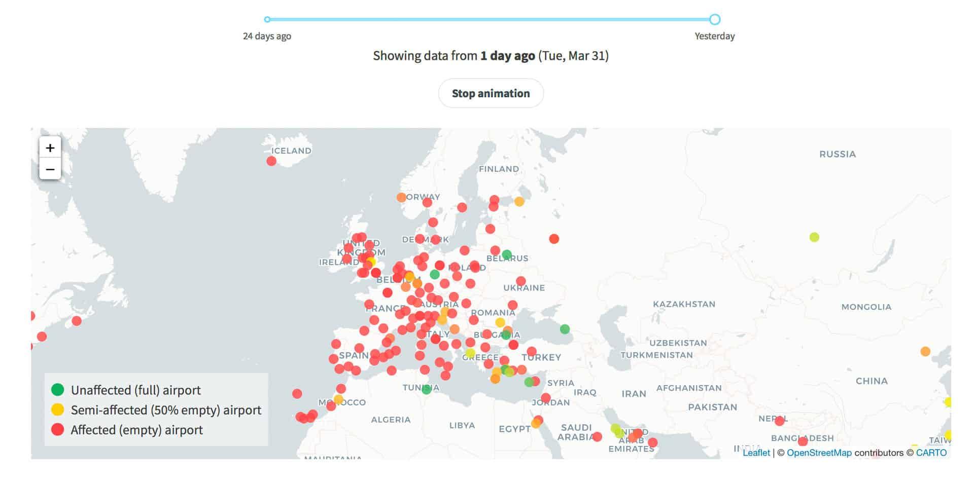 Aropuertos cerrados en Europa