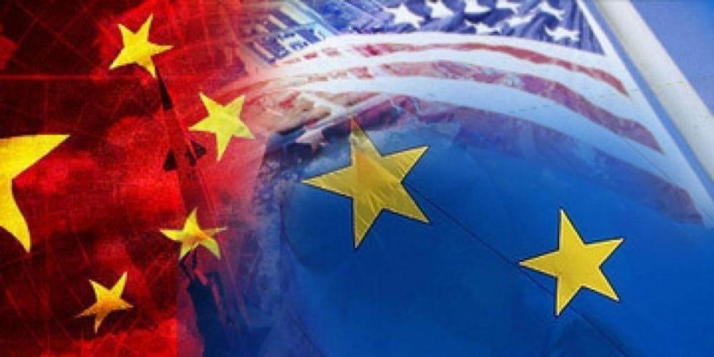 China US Europe Flags