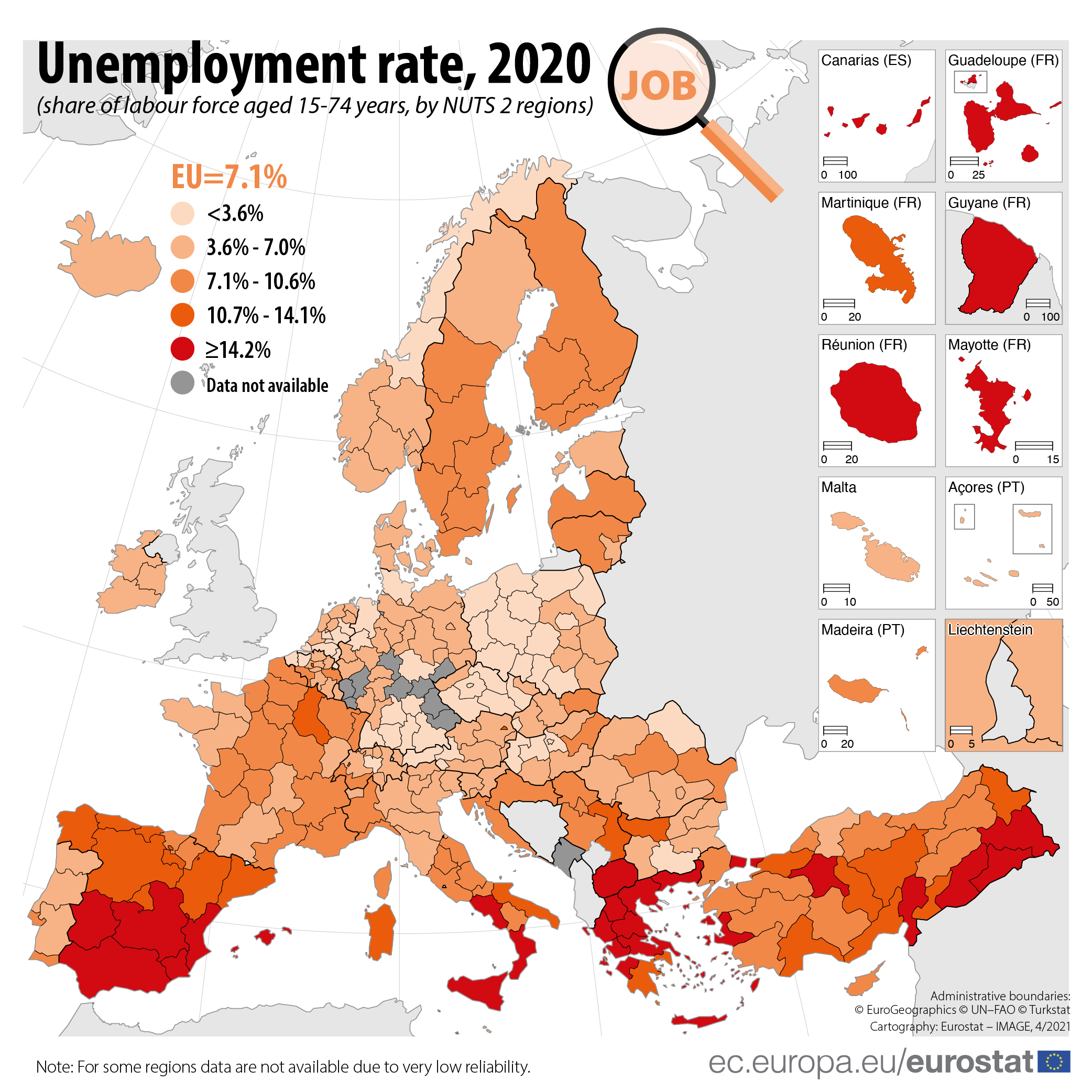UE - Regional unemployment map - 2020-21