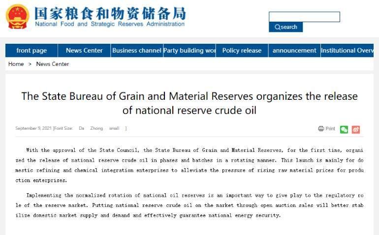 China - Intervención precio petróleo 2021 - 1