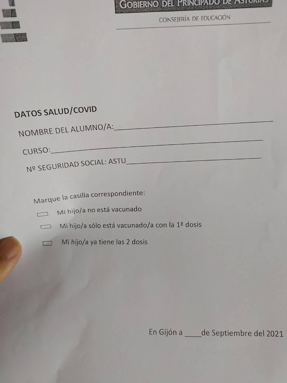 España Asturias Cuestionario alumnos vacunas