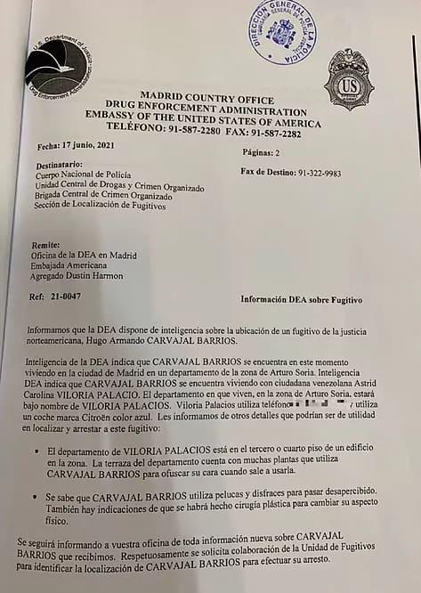 Venezuela - Pollo Carvajal - DEA Documento - 1
